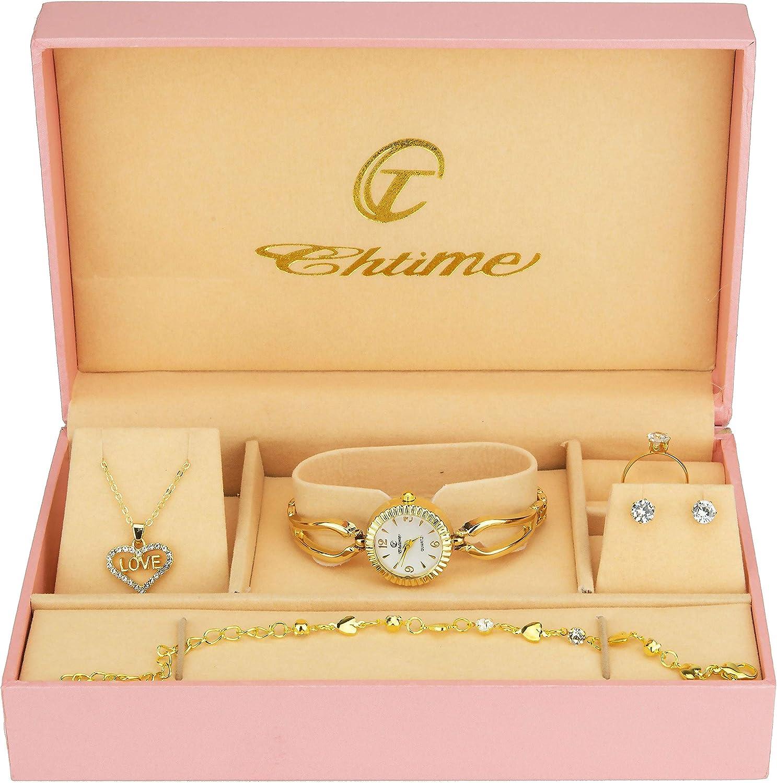 Caja de Regalo Reloj Mujer Blanco- Juegos de Joyas- Collar-Anillo- Pendientes - Pulsera