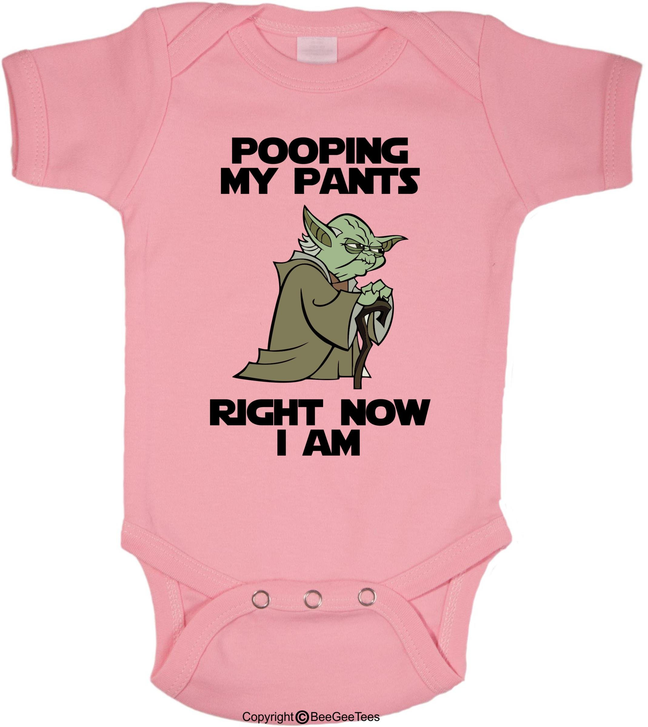 4c679b00d BeeGeeTees Pooping My Pants Right Now I Am Funny Star Wars Yoda Onesie  (Newborn, Pink)