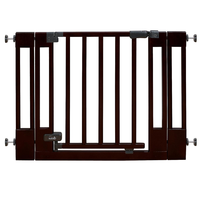 amazoncom  summer infant multiuse deluxe wood walkthru gate  - amazoncom  summer infant multiuse deluxe wood walkthru gate darkcherry  indoor safety gates  baby