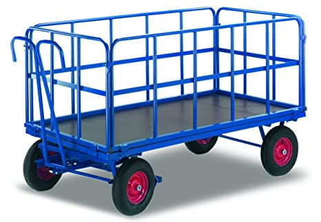 Mano camas carro con 4 Tubo rejilla paredes de carga (kg): 1000 ladefläche