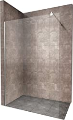 Duschabtrennung Duschwand Walk In Dusche 10mm STARK aus DURCHSICHTIGEM ESG Sicherheitsglas mit Edelstahl Wandprofilen #740 (130 x 200cm, Klares Glas)