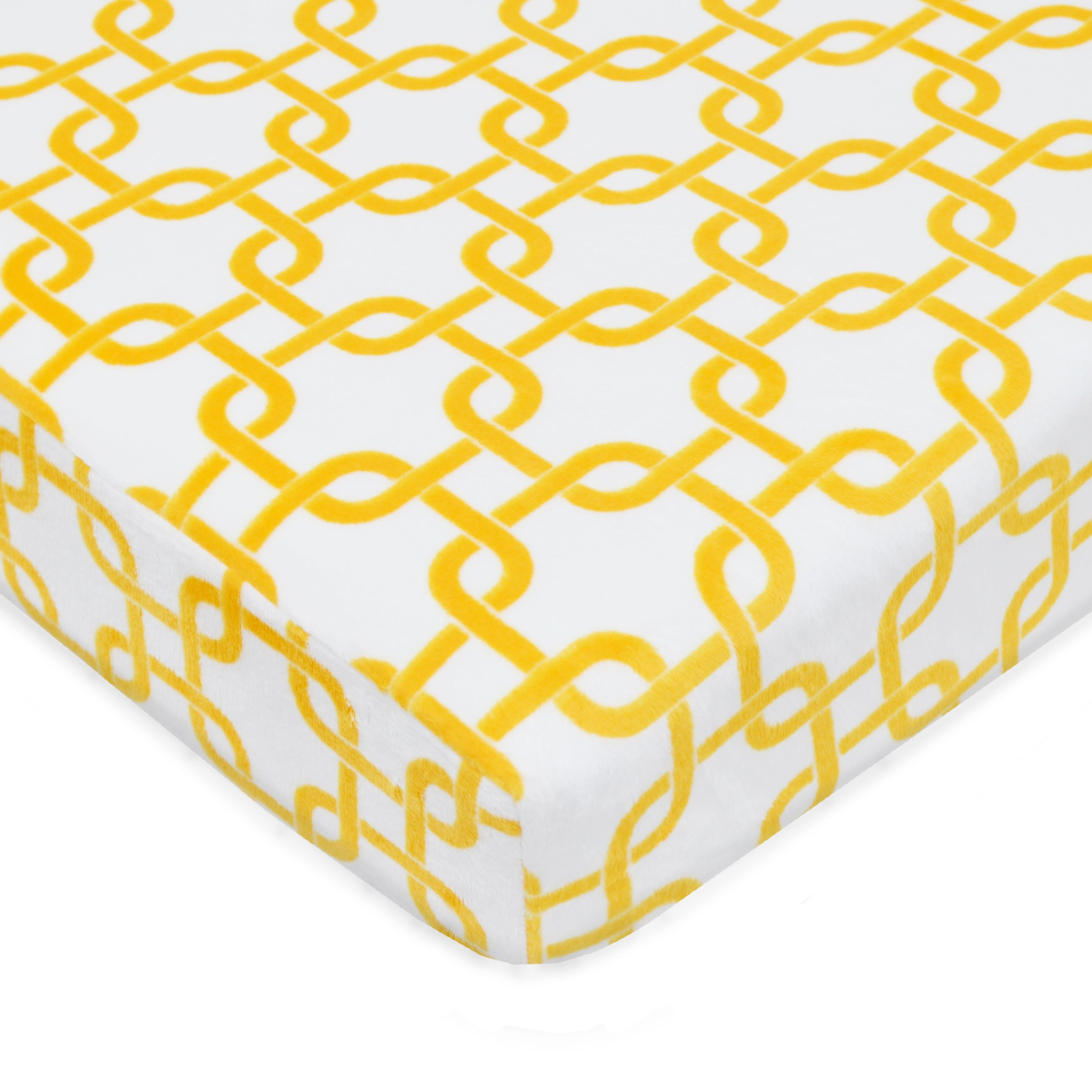 American Baby Company Heavenly Soft Chenille Fitted Pack N Play Playard Sheet, Golden Yellow Gotcha, 27'' x 39''