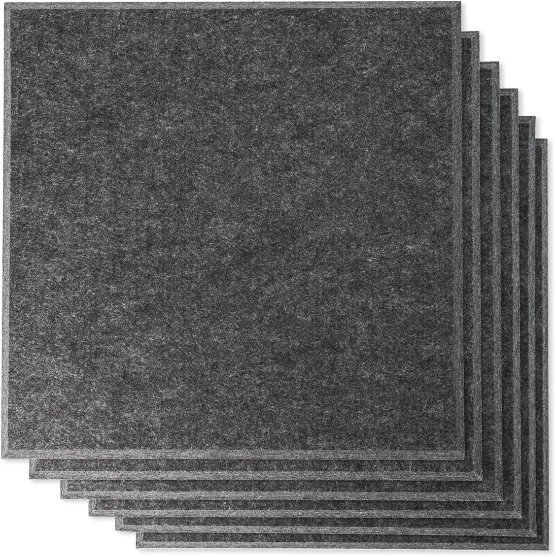 "Rhino Acoustic Absorption Panel 12"" x 12"" x 0.4"" NRC Sound Proof Padding for Echo Bass Isolation Dark Gray 6 Pieces Beveled Edge for Wall Decoration and Acoustic Treatment"