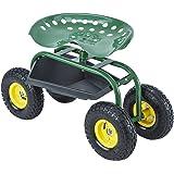 Uenjoy Garden Cart Work Seat with Tool Tray Gardening Wagon Rolling Heavy Duty Cart, 330Ibs Green