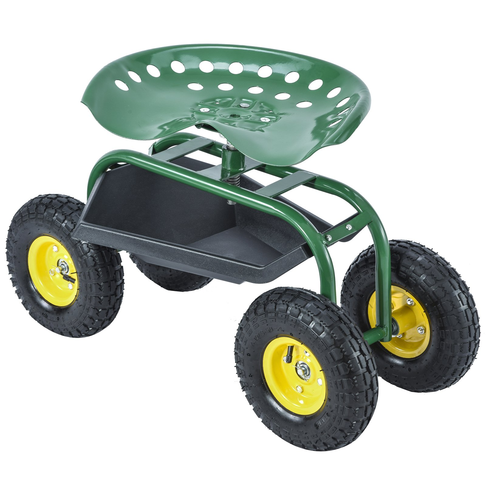 Uenjoy Garden Cart Work Seat with Tool Tray Gardening Wagon Rolling Heavy Duty Cart, 330Ibs Green by Uenjoy