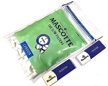 Mascotte Slim carbón/carbón activado filtros de cigarrillos 6 mm 5 bolsas de 120 (total 600 filtros) por Trendz