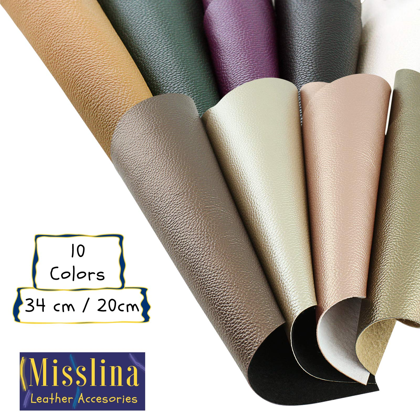 Faux Leather Sheets for Leathercraft Accesories with Cotton Fabric Back- 8'' x 13''(20 x 34 cm) Pack of 10 Faux Leather for Earring Making, Ribbon Bowls Crafts Making- 10 Colours of Faux Leather Sheets by MissLina Faux Leather Accesories (Image #4)