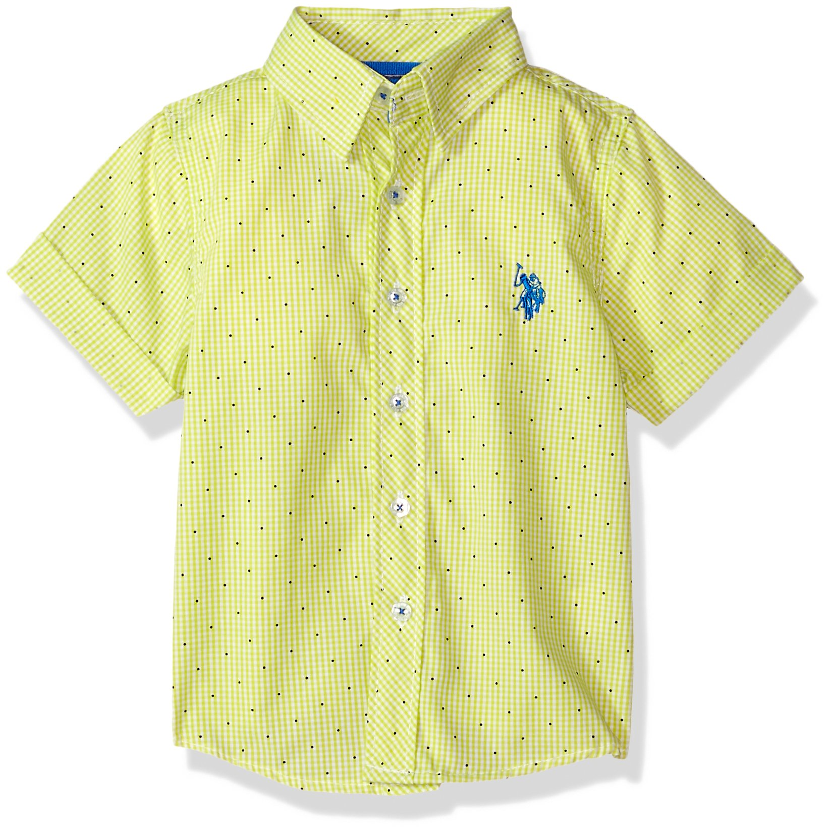 U.S. Polo Assn.. Toddler Boys' Short Sleeve Plaid Sport Shirt, Check Dots Summer Lime, 2T