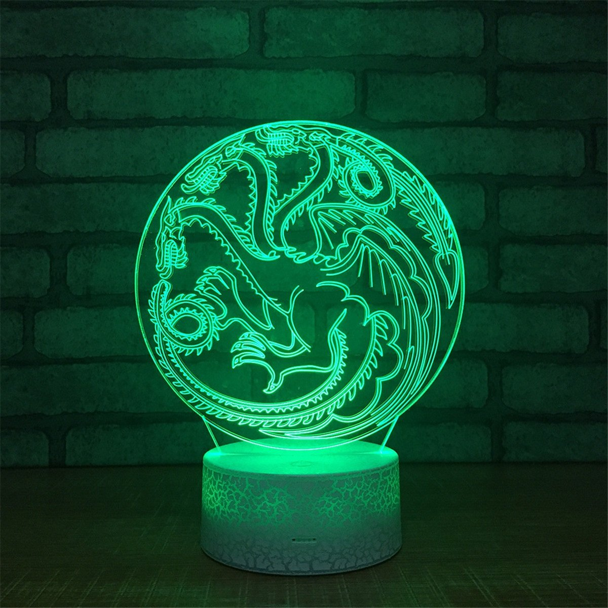 Cute Smart Touch Dragon 3D Touch Optical Illusion Night Light Crackle Paint Base 7 Colors Changing Beside Table Desk Deco Lamp Bedroom Nightlight Lighting Effects Birthday