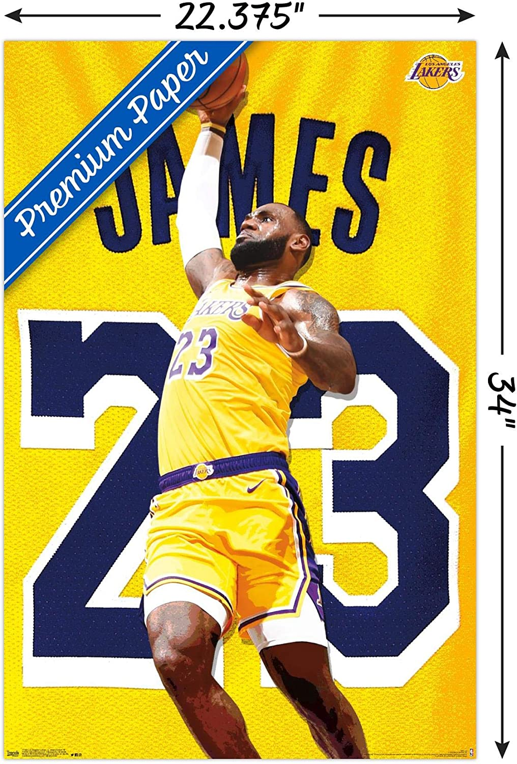 Amazon Com Trends International Nba Los Angeles Lakers Lebron James 2018 Wall Poster 22 375 X 34 Premium Unframed Version Home Kitchen