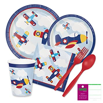 Amazoncom Airplane Birthday Party Supplies for 16 Guests Paper