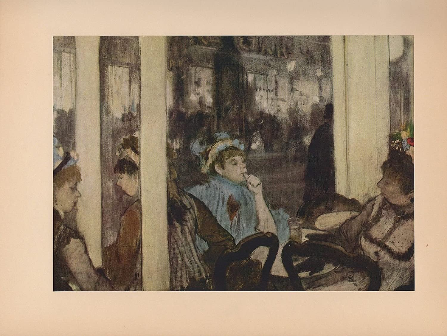 "1951 Vintage DEGAS /""WOMEN IN FRONT OF A CAFE/"" COFFEE COLOR Art Print Lithograph"