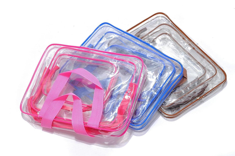 Bleu Sac Cosm/étiques pour Hommes et Femmes 3 en 1 Cadeaux Sacs de maquillage et /étuis Sac en plastique Sac de voyage en PVC Set de Voyage dans Bagages /à Main Trousse de Toilette Transparente