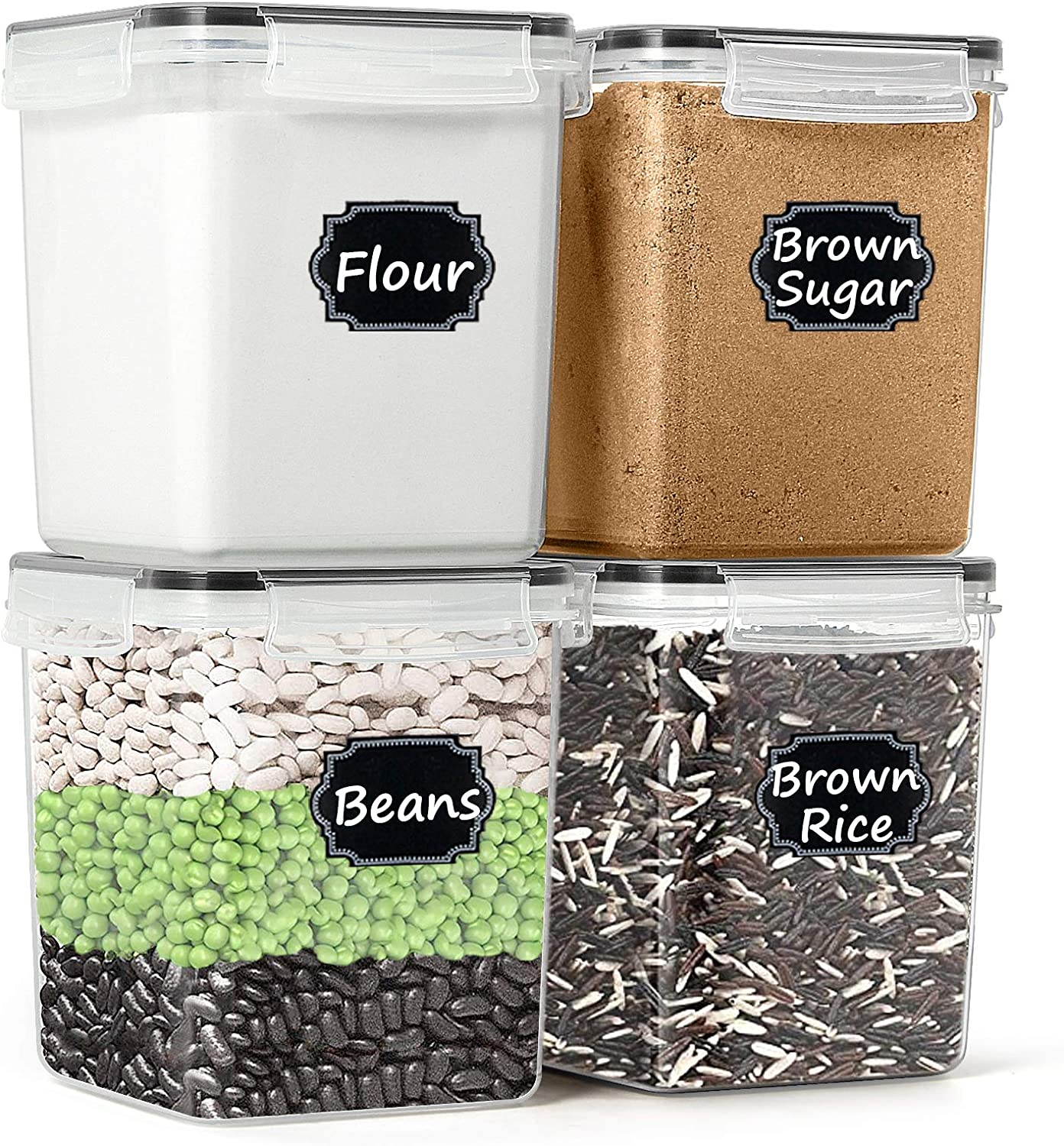 Airtight Food Storage Containers - Paincco Cereal & Dry Food Storage Containers Set of 4 [2.5L /84.5oz], Leak Proof & BPA Free Kitchen Pantry Organization for Flour and Baking Supplies