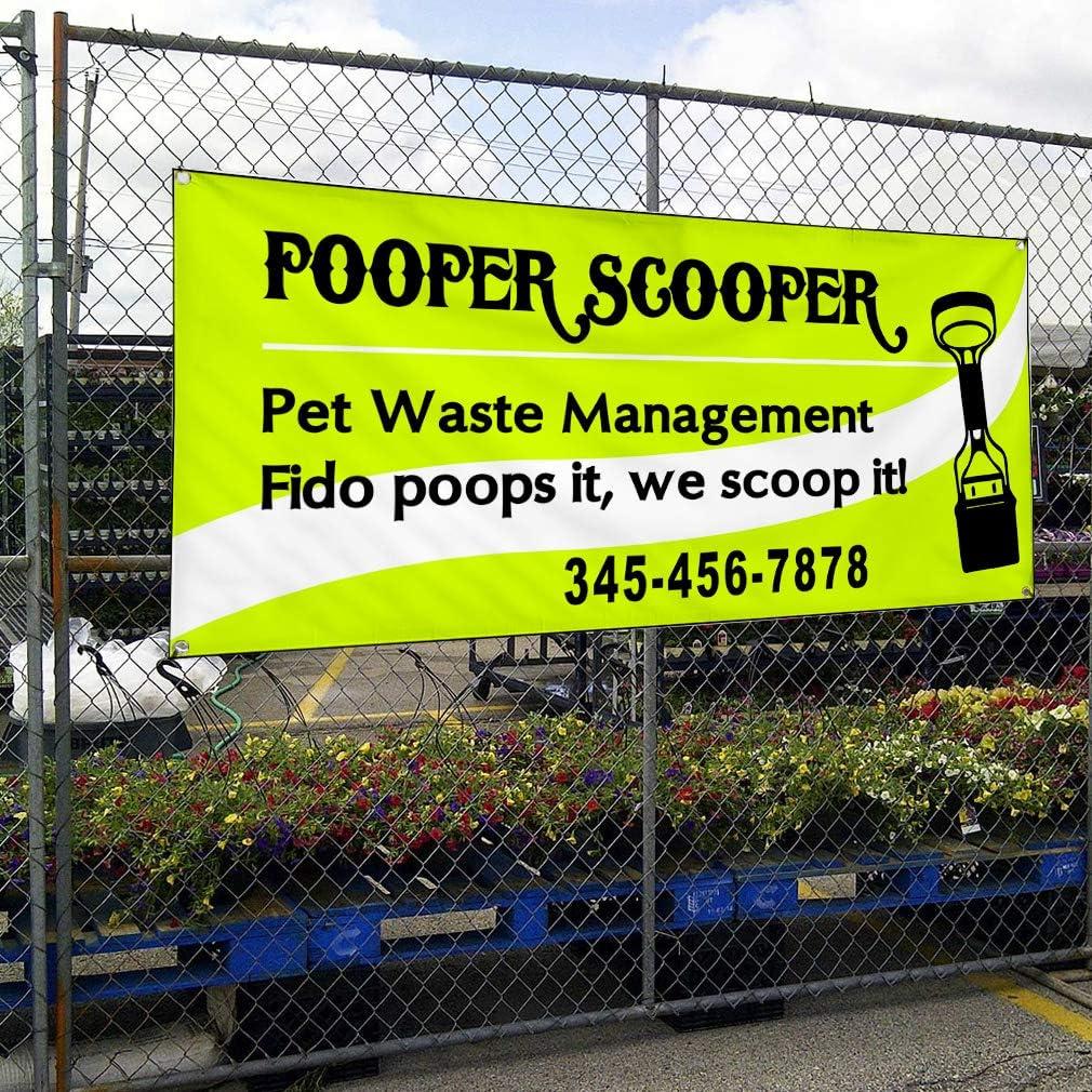 Custom Vinyl Banner Sign Multiple Sizes Pooper Scooper Waste Management Green Business Outdoor Green 4 Grommets 24inx48in Set of 5