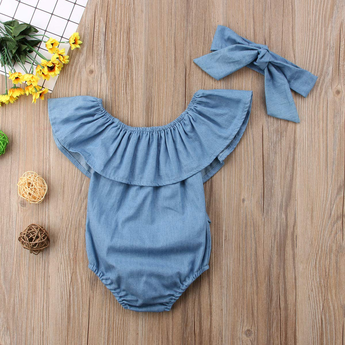 Newborn Kids Baby Girls Front Bowknot Bodysuit Romper Jumpsuit Outfits Set 0-24M