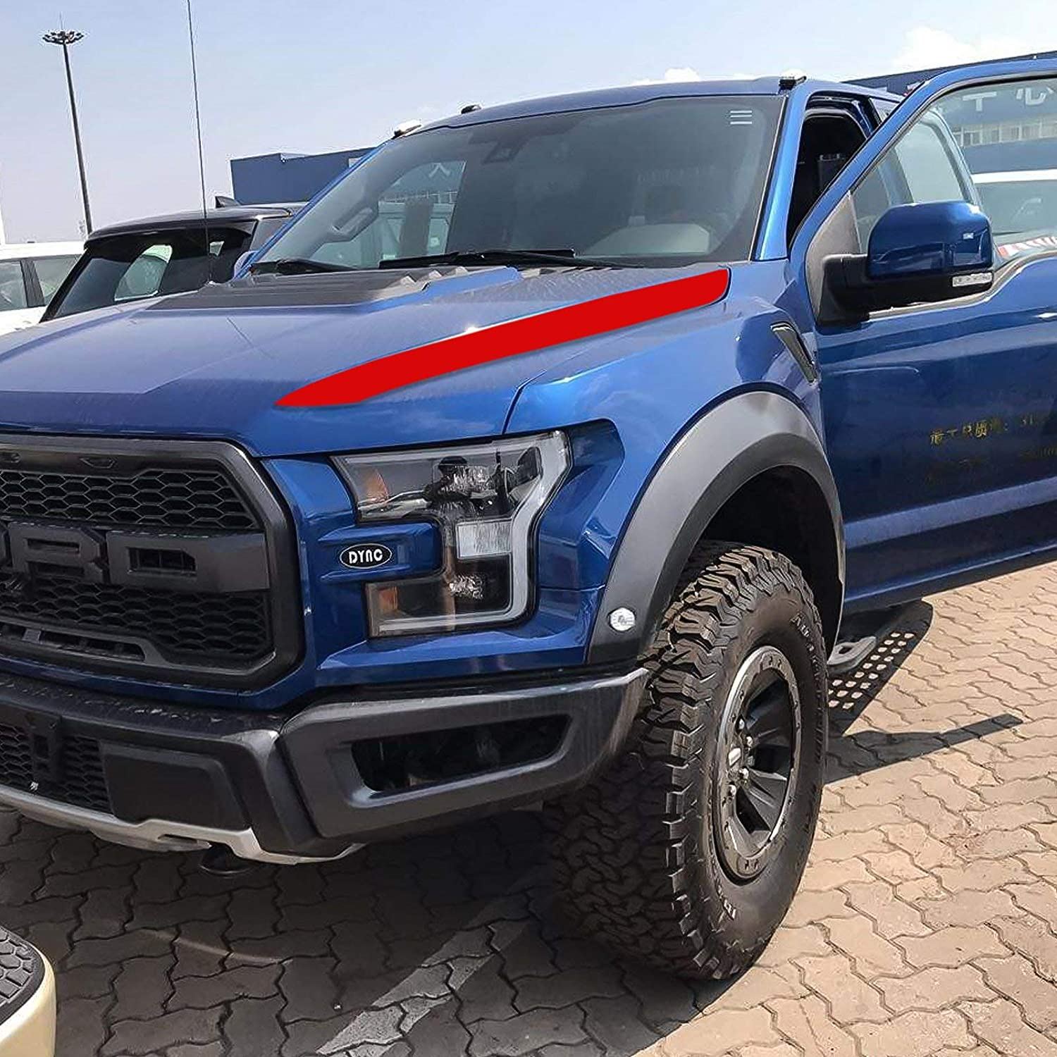 Xotic Tech Cowl Hood Vinyl Sticker Stylish Spears Stripe Decal Trim for Ford F150 F-150 2015-2019 Matte Black