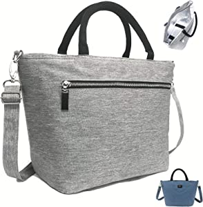 Womens Lunch Bag by SEEKERS COVE with Shoulder Strap for Work School | Lunch Tote 4mm Insulation | Purse Style with Pocket | (Grey)