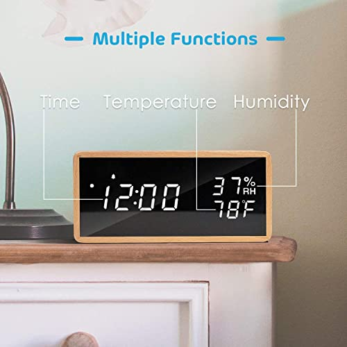 Wooden Digital Alarm Clock for Bedrooms, Real Wood,Time Temperature Humidity, 3 Sets of Alarms, Adjustable Brightness