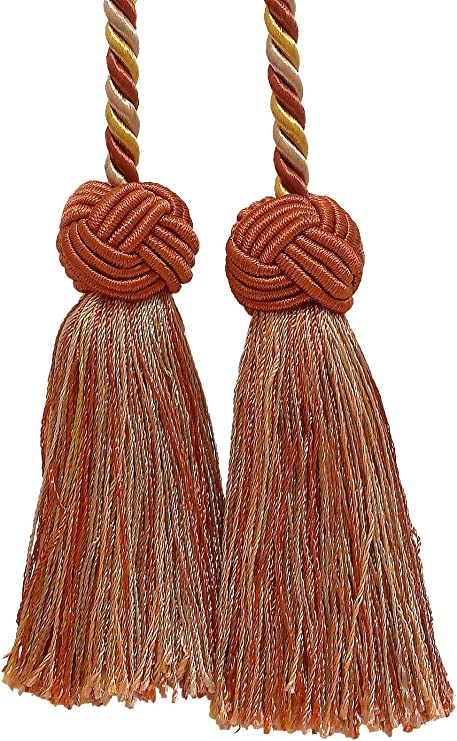 Double Tassel Tassel Tie w// 3.5 inch Tassels MOCHA ICE 24B Baroque Collection Style# BCT Color Brown /& Light Blue