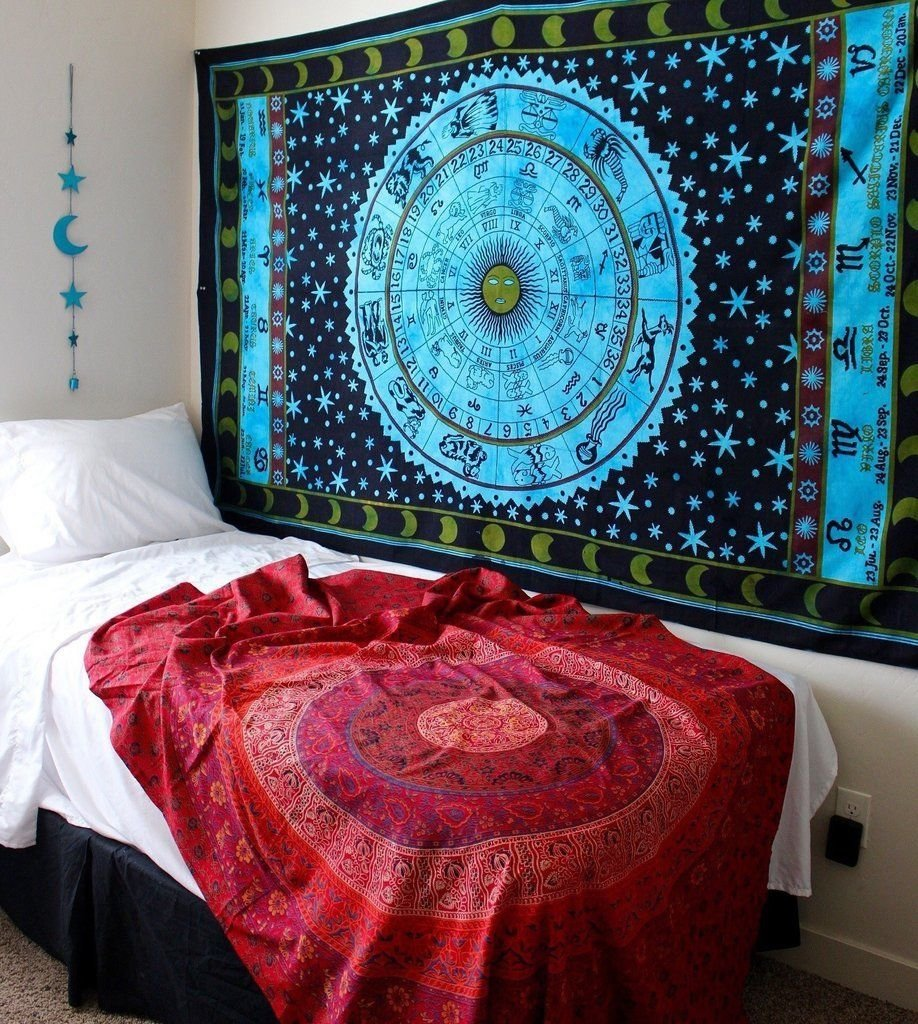 """1 X Zodiac Tapestry Wall Hanging Horoscope Tapestry Indian Astrology Hippie Wall Tapestries for Dorms Boho Twin Bedding Zodiac Tapestry. (85"""" X 55')"""