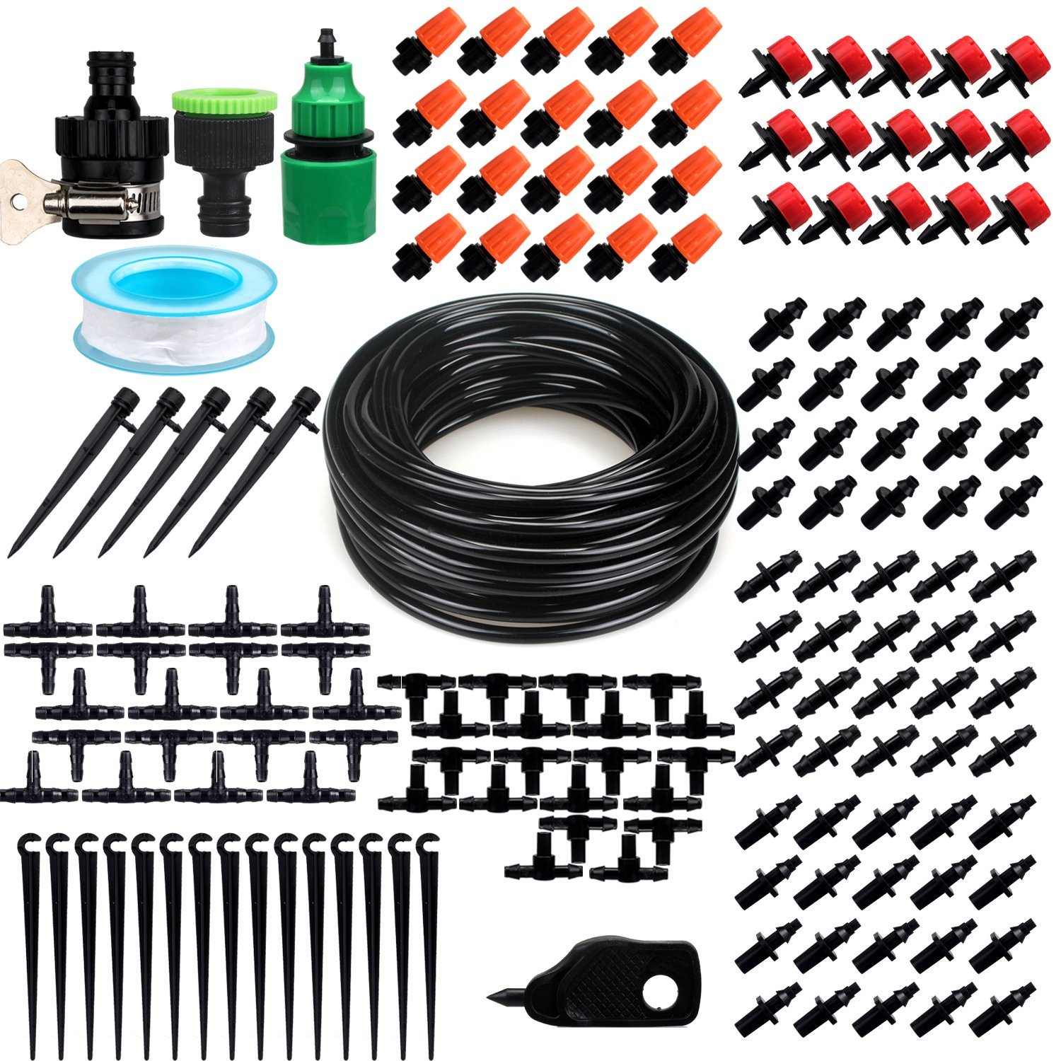 Patio Plant Watering Kit,50ft 1/4'' Blank Distribution Tubing Hose DIY Garden Drip Irrigation System, Misting Cooling System with Mister Nozzle Sprinkler for Pots &Containers