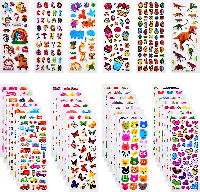 Habett Pegatinas para Niños, 920+ 3D Puffy Sticker Variedad de Pegatinas para Regalos Gratificantes Scrapbooking Que Incluye Animales, Peces, Dinosaurios, Números, Frutas, Alfabeto y Más (36 Hojas)