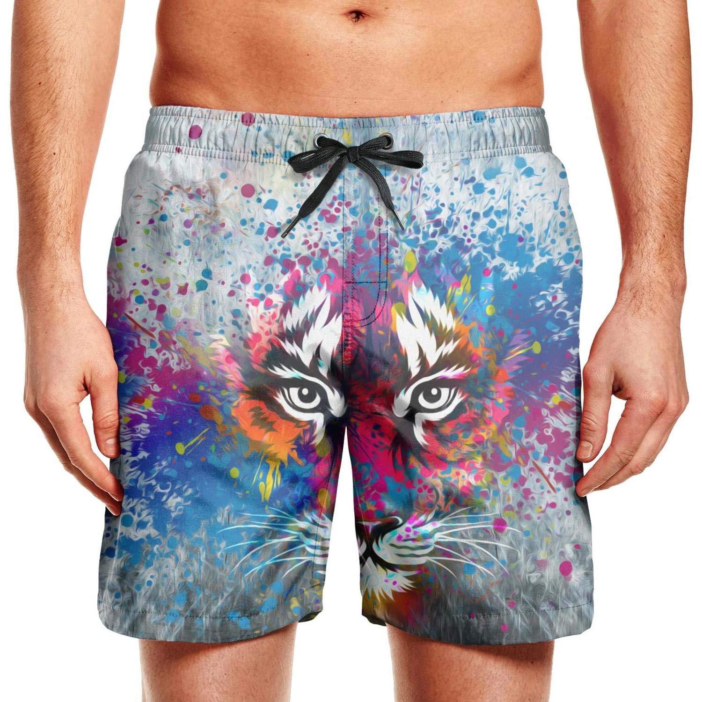 Men Swimming Trunks Board Shorts Colorful Tiger Head Tiger face Beach Drawstring Elastic Waist Beach Wear Shorts Athletic