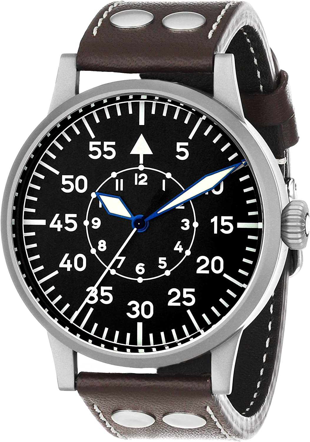 Laco 1925 Men s 861751 Laco 1925 Pilot Classic Stainless Steel Mechanical Watch with Brown Leather Band