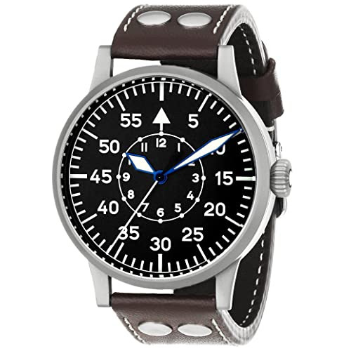Laco / 1925 Mens 861751 Laco 1925 Pilot Classic Stainless Steel Mechanical Watch with Brown Leather