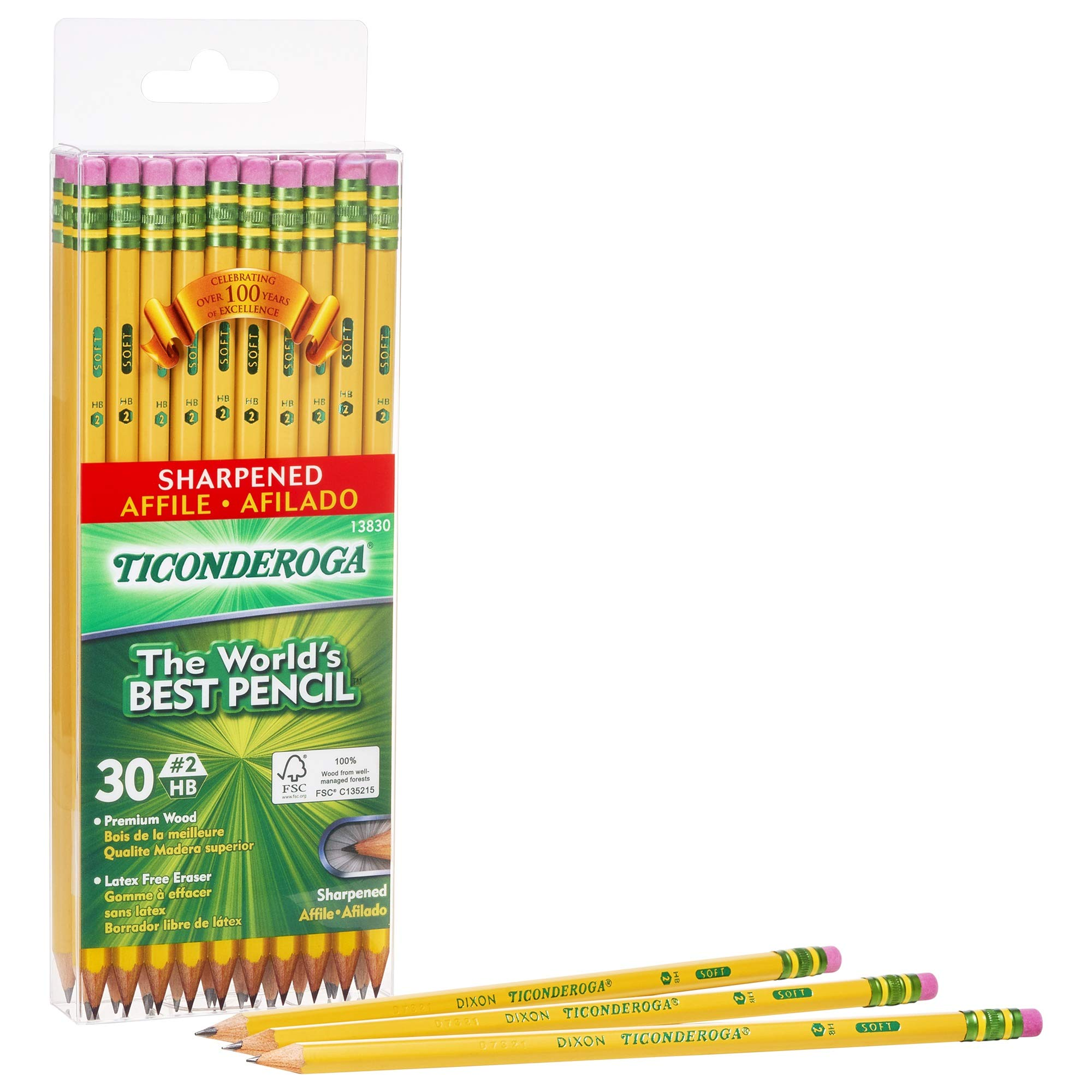 TICONDEROGA Pencils, Wood-Cased #2 HB Soft, Pre-Sharpened with Eraser, Yellow, 6-Pack/ 180 count (13806) by Ticonderoga
