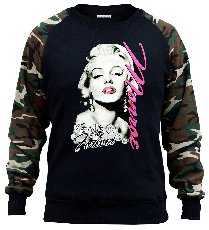 Mens Marilyn Monroe Forever Black//Camo Raglan Baseball Sweatshirt Black