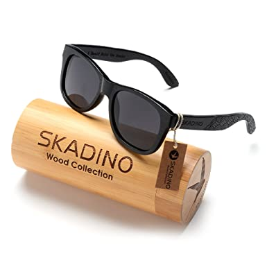 cccd0ca1ee5a SKADINO Bamboo Sunglasses with Polarized lenses-Handmade Floating Wood  Shades for Men&Women-Braid