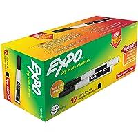 Expo Magnetic Dry Erase Marker with Eraser - Fine Black 12-pack