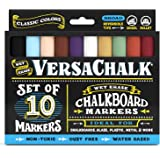 Chalkboard Chalk Markers by VersaChalk - Classic Colors (10-Pack)   Dust Free, Water-Based, Non-Toxic   Wet Erase Chalk Ink Pens