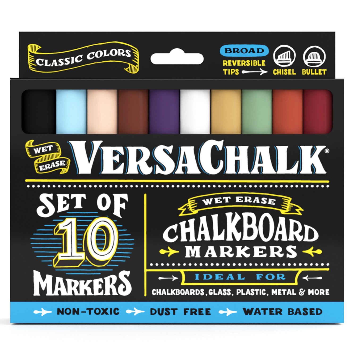 VersaChalk Chalkboard Chalk Markers (10-Pack)| Dust Free, Water-Based, Non-Toxic | Wet Erase Chalk Ink Pens Bold 5mm Classic Colors Set
