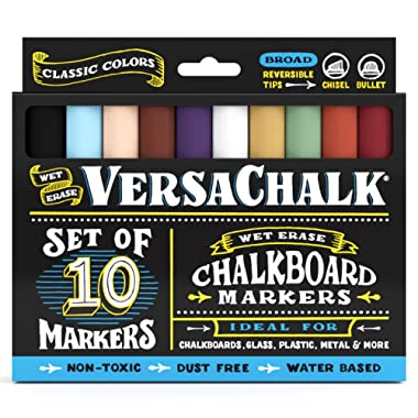 Classic Liquid Chalk Ink Chalkboard Markers by VersaChalk - Wet Erase Chalk Pens for Chalkboard Sign, Blackboard, Dry Erase Board (5mm Bold Reversible Tip)