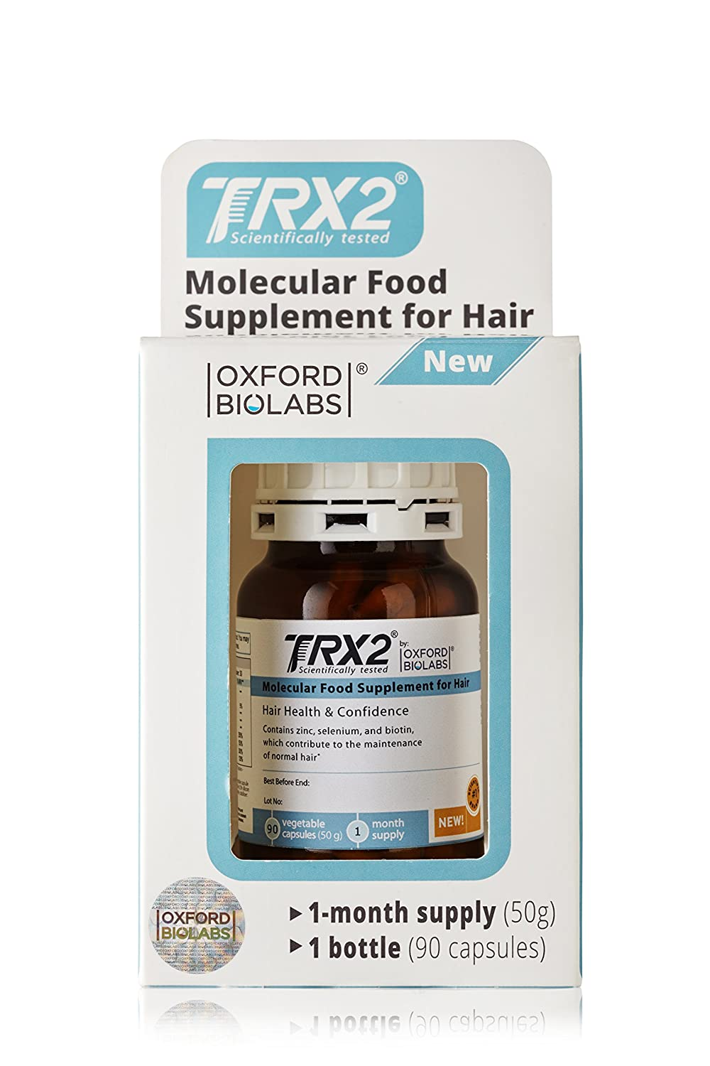TRX2® Hair Growth Supplement developed by Oxford Biolabs®. Manufactured in Germany (1 Month Supply)