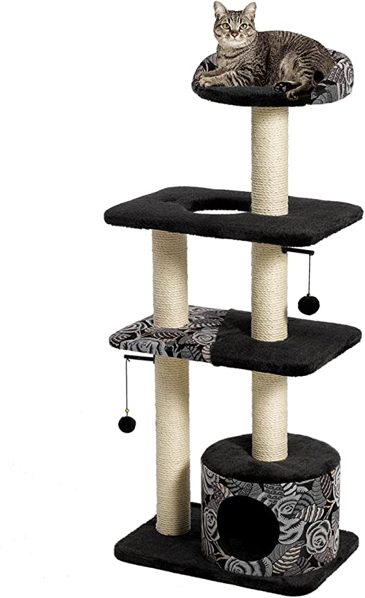 YODOLLA Multi level Cat Tower Large Plush Perch Cat Tree and Tower Cats for Adult Cats Grey Cat Scratching Post 87cm Height Cat Tree Tower for Kittens