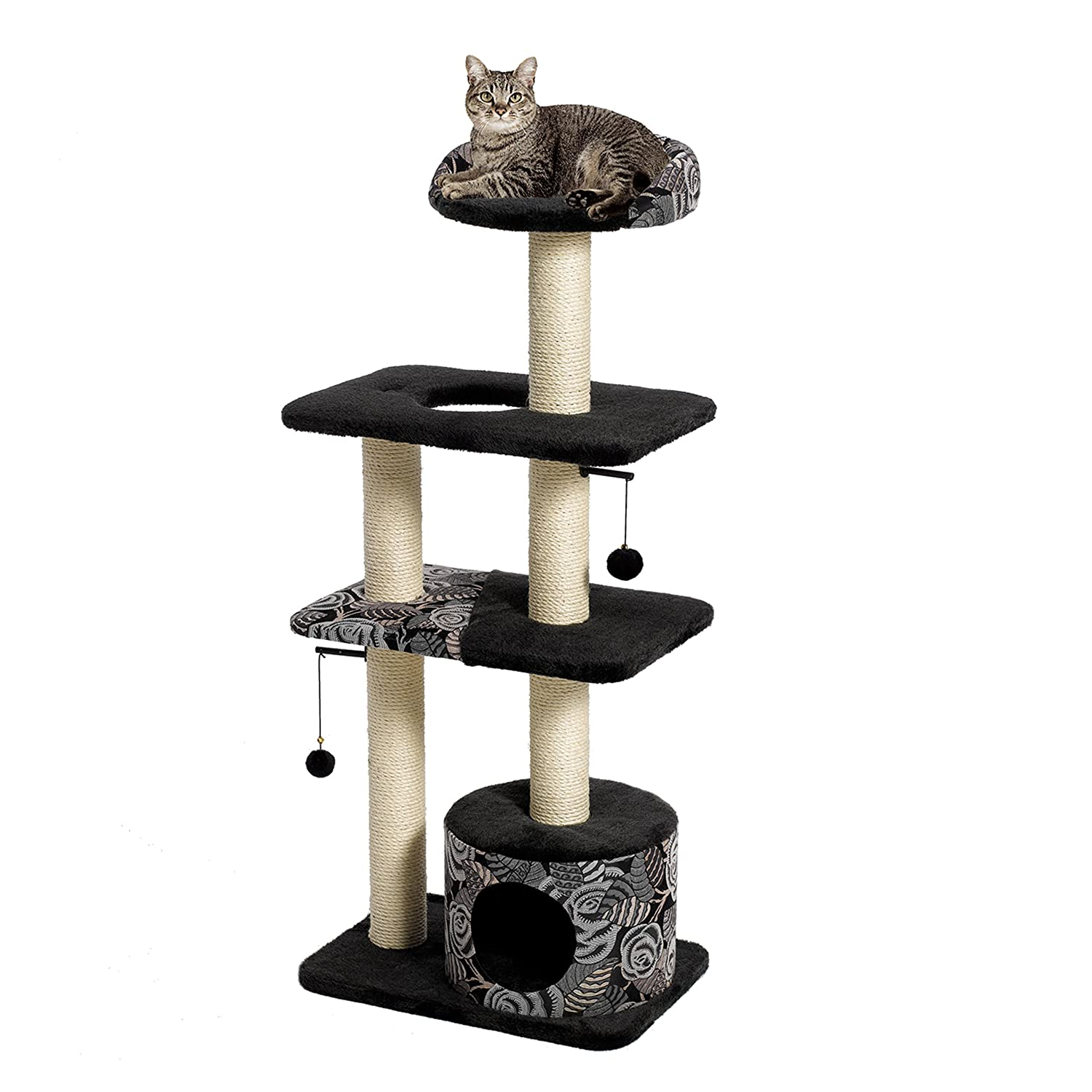 Amazon com midwest homes for pets cat tree tower cat furniture 5 tier cat tree w sisal wrapped support scratching posts high cat look out perch