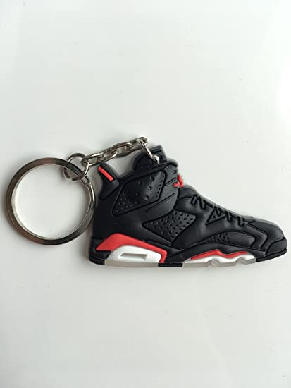 low priced 3d089 1e9b5 Jordan Retro 6 Black Infrared Sneaker Keychain Shoes Keyring AJ 23 OG