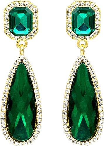 Luxury Crystal Geometric Teardrop Earrings Drop Dangle Womens Wedding Jewellery