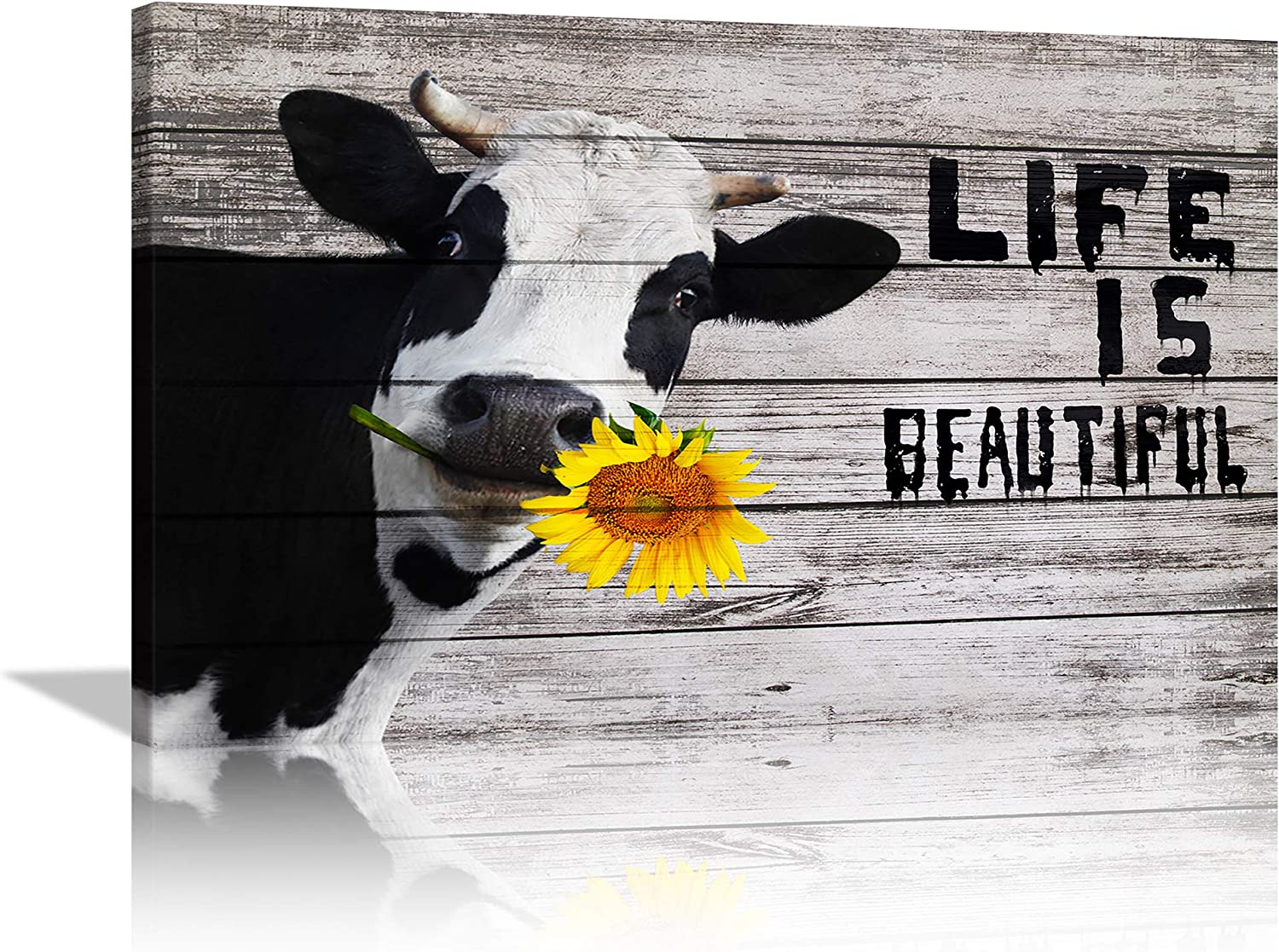 Farmhouse Animal Wall Art Canvas Sunflower Decoration for Kitchen Bathroom Cow Wall Art Decor for Home Cow Picture Painting Inspirational Poster Print Rustic Wall Home Decor Framed Ready to Hang