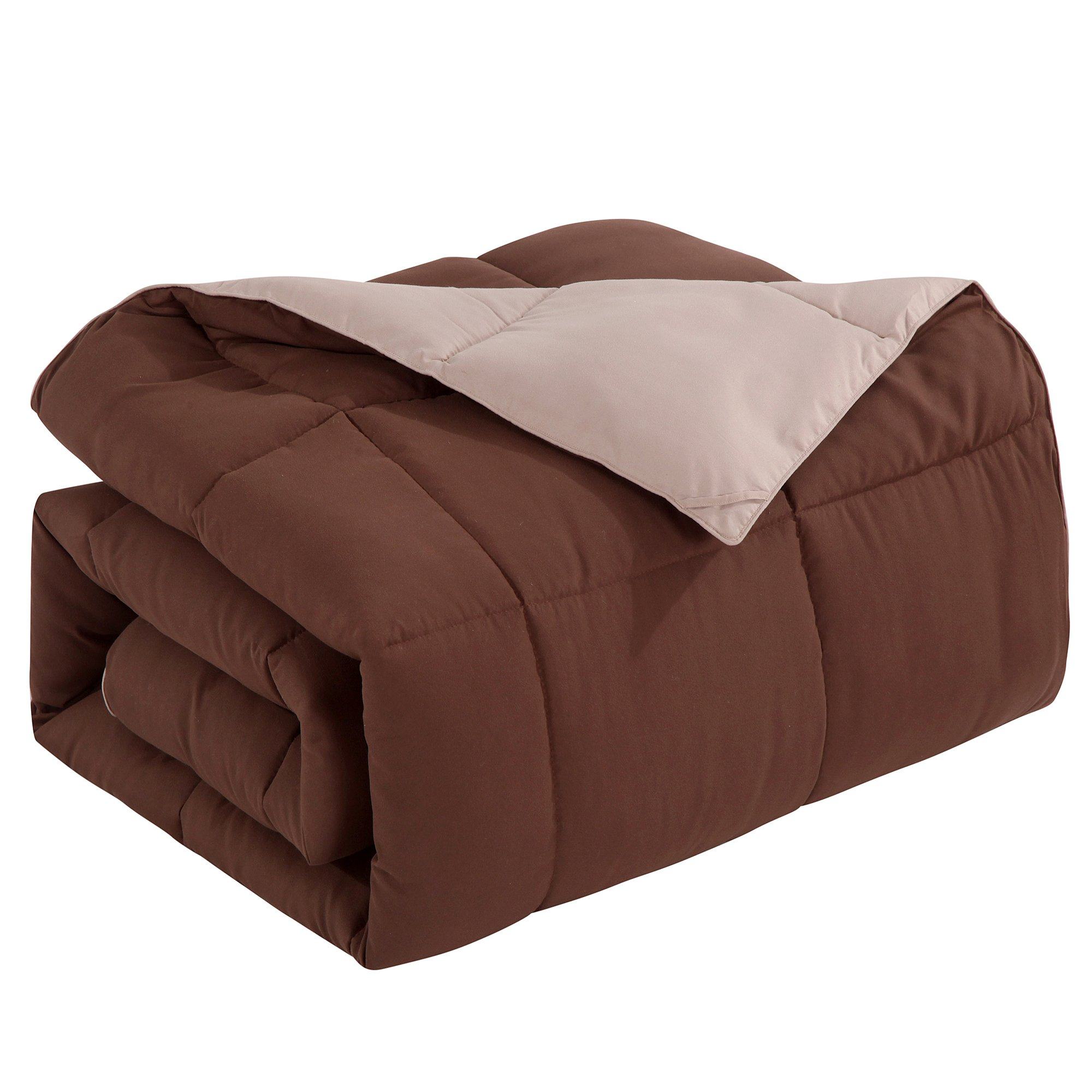Homelike Moment Lightweight Reversible Comforter Down Alternative Twin All Season Duvet Insert Microfiber Comforter Chocolate Brown/Khaki Twin/Twin XL Size with Corner Tabs Hypoallergenic