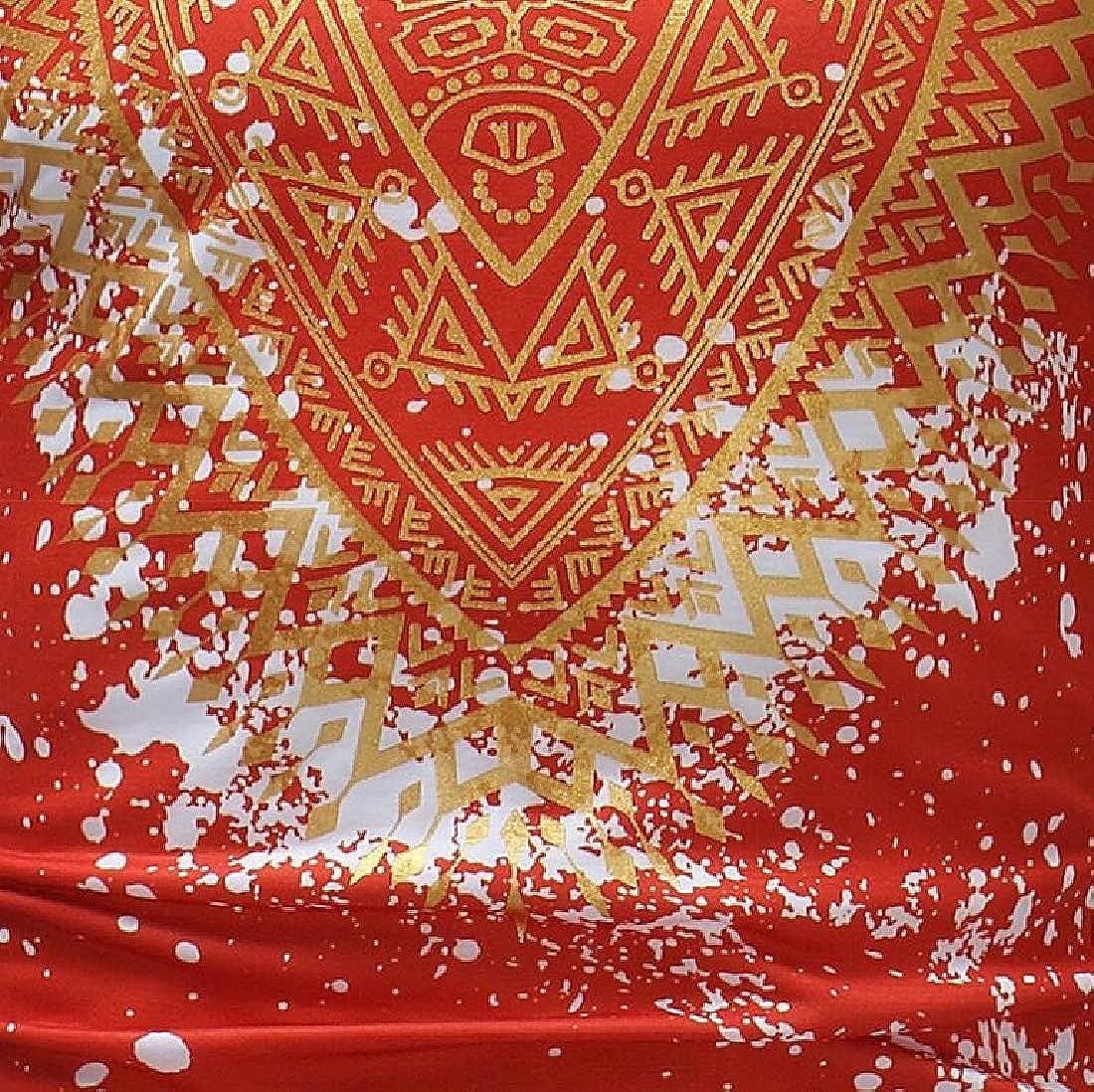 ARTFFEL Mens Ethnic Crewneck Short Sleeve African Fribal Print Dashiki T Shirts Tee