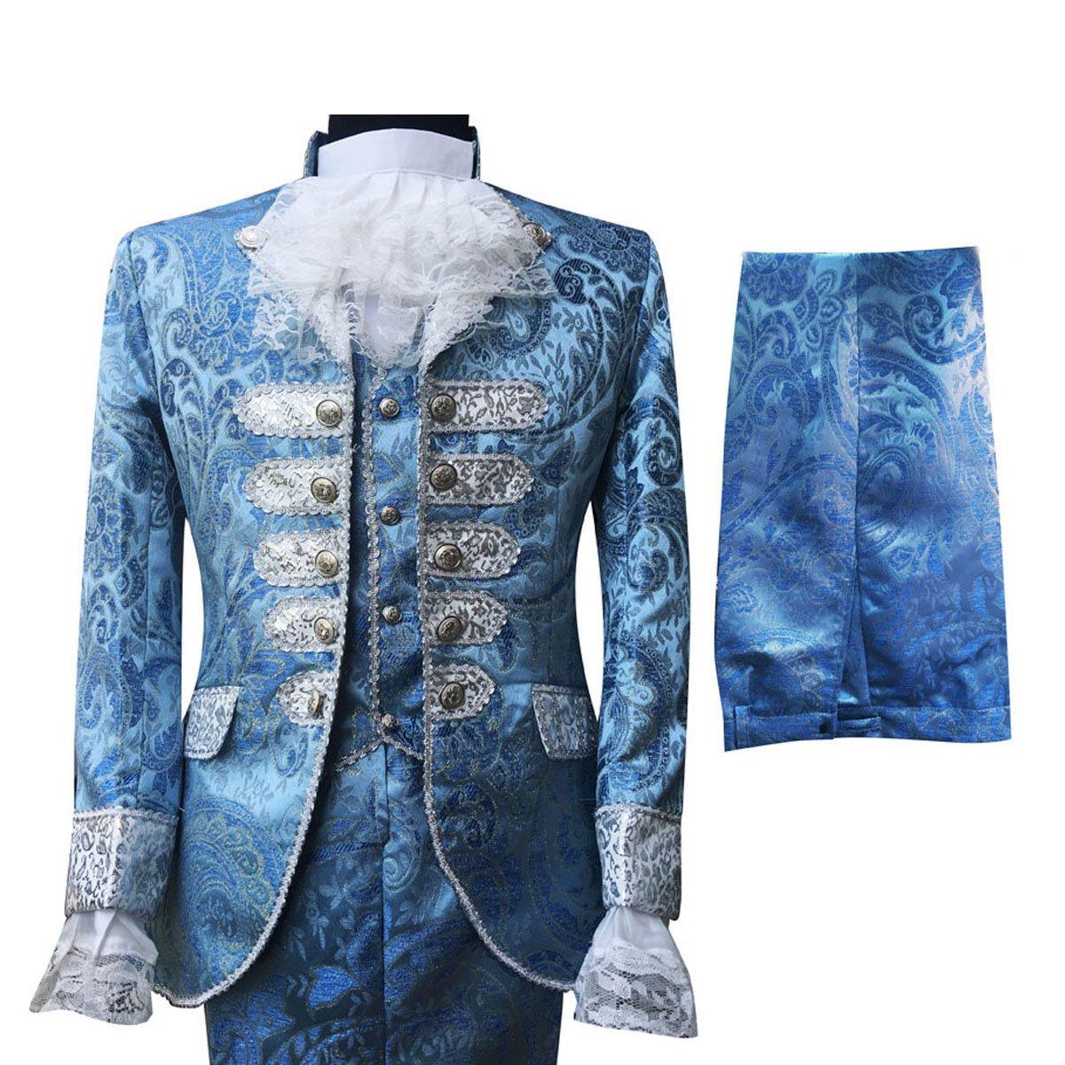 Cloudstyle Mens Dinner Suit Tuxedo Slim Fit Wedding Three Piece Suits Retro Blue