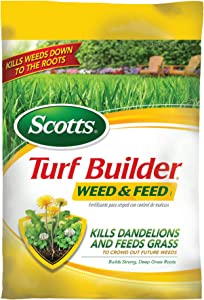 Scotts Turf Builder Lawn Food - Weed and Feed, (Lawn Fertilizer plus Dandelion & Weed Killer) (Not Sold in Pinellas County, FL), 5,000-sq ft
