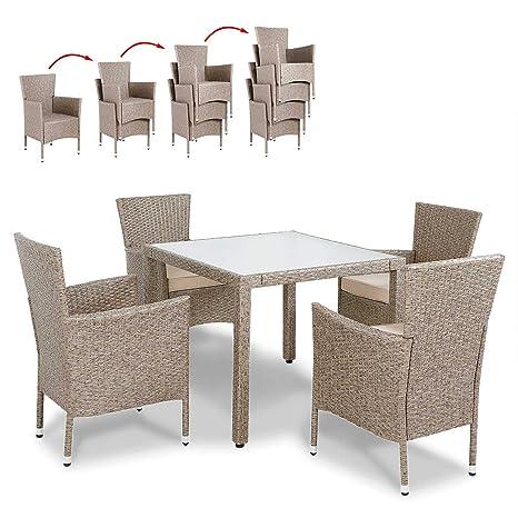 Deuba Conjunto de jardín de Poliratán Crema 4 sillas con cojínes y una mesa resistente para su jardín terraza exterior