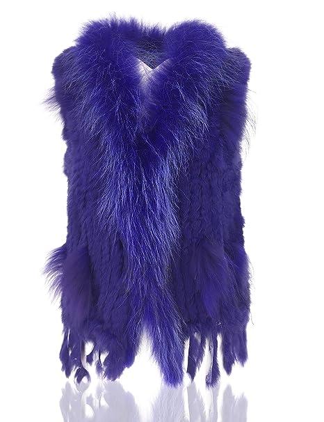 Uilor 100% Natural de la Mujer Knit Chaleco con Pelo de Mapache Cuello de  Piel f406bd4f33ea