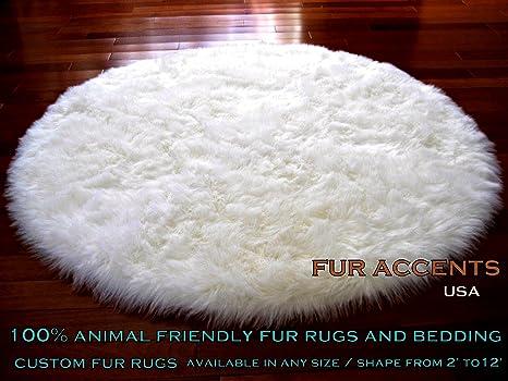 Amazon.com: Fur Accents Classic Round Sheepskin Rug Shaggy Off White Faux  Fur (3 Ft Diameter): Kitchen & Dining - Amazon.com: Fur Accents Classic Round Sheepskin Rug Shaggy Off